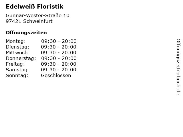 Edelweiß Floristik in Schweinfurt: Adresse und Öffnungszeiten