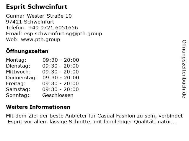 Esprit Schweinfurt in Schweinfurt: Adresse und Öffnungszeiten