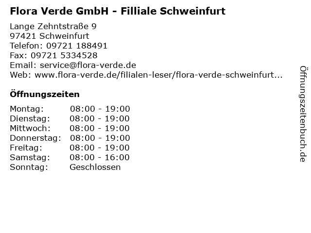 Flora Verde GmbH - Filliale Schweinfurt in Schweinfurt: Adresse und Öffnungszeiten