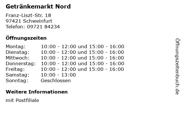 Getränkemarkt Nord in Schweinfurt: Adresse und Öffnungszeiten