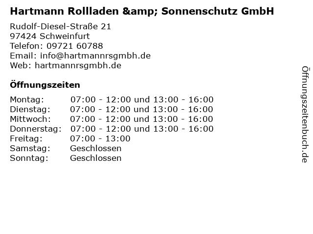 Hartmann Rollladen & Sonnenschutz GmbH in Schweinfurt: Adresse und Öffnungszeiten