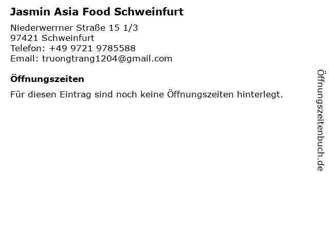Jasmin Asia Food in Schweinfurt: Adresse und Öffnungszeiten