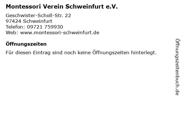 Montessori Verein Schweinfurt e.V. in Schweinfurt: Adresse und Öffnungszeiten