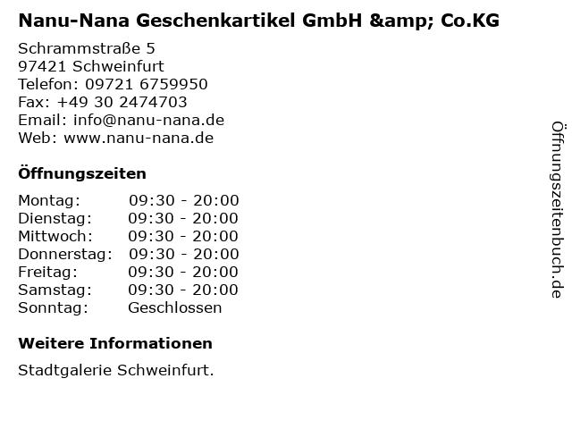 Nanu-Nana Geschenkartikel GmbH & Co.KG in Schweinfurt: Adresse und Öffnungszeiten