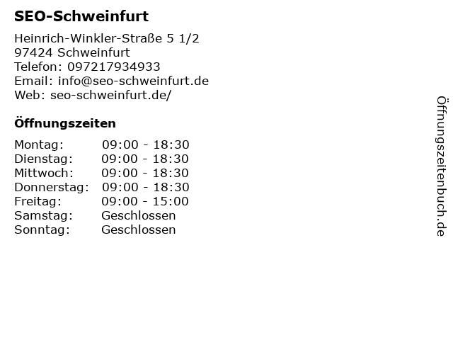 SEO-Schweinfurt in Schweinfurt: Adresse und Öffnungszeiten