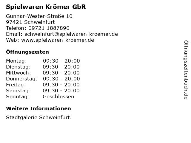 Spielwaren Krömer GbR in Schweinfurt: Adresse und Öffnungszeiten
