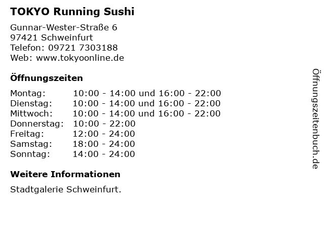 TOKYO Running Sushi in Schweinfurt: Adresse und Öffnungszeiten