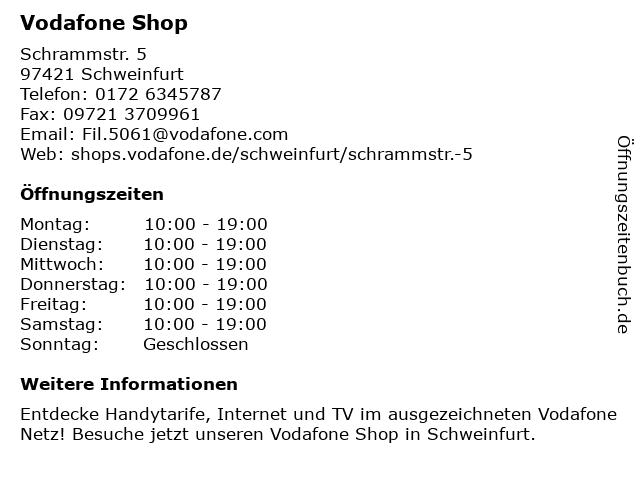 Vodafone Shop in Schweinfurt: Adresse und Öffnungszeiten