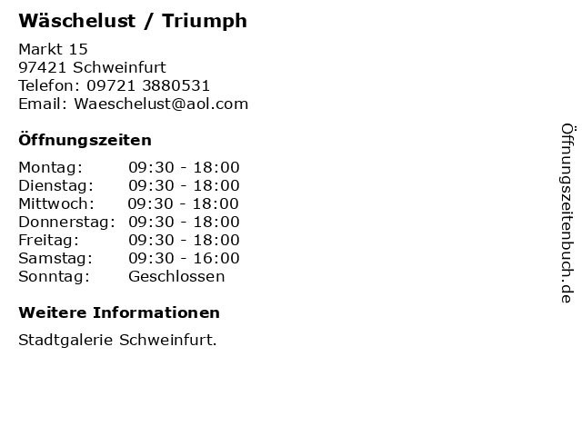 Triumph in Schweinfurt: Adresse und Öffnungszeiten