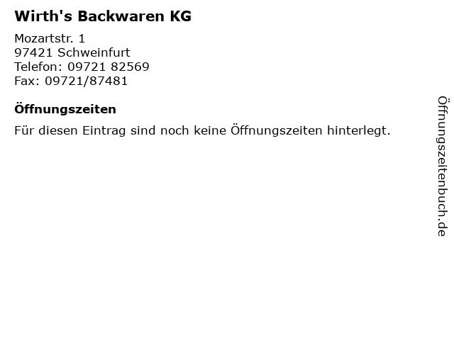 Wirth's Backwaren KG in Schweinfurt: Adresse und Öffnungszeiten