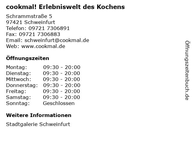 cookmal! Erlebniswelt des Kochens in Schweinfurt: Adresse und Öffnungszeiten