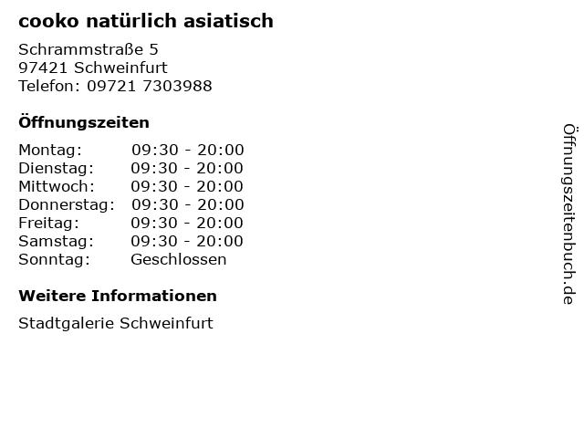 cooko natürlich asiatisch in Schweinfurt: Adresse und Öffnungszeiten
