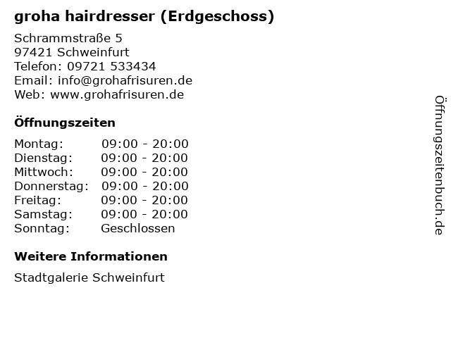 groha hairdresser (Erdgeschoss) in Schweinfurt: Adresse und Öffnungszeiten