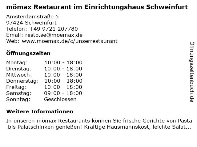 ᐅ öffnungszeiten Mömax Restaurant Im Einrichtungshaus Schweinfurt