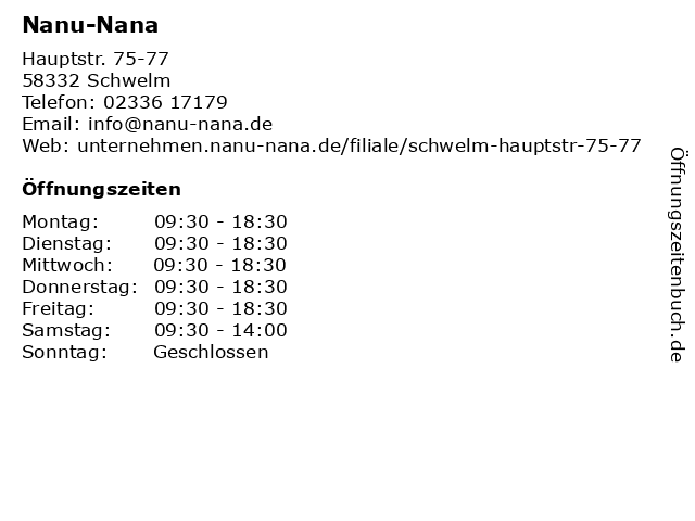 Nanu-Nana in Schwelm: Adresse und Öffnungszeiten