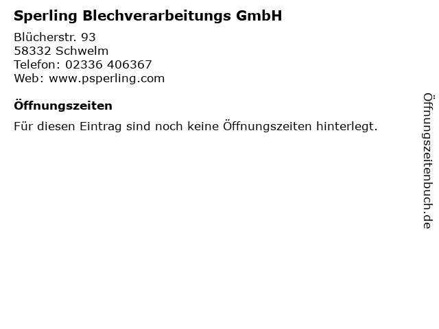 Sperling Blechverarbeitungs GmbH in Schwelm: Adresse und Öffnungszeiten
