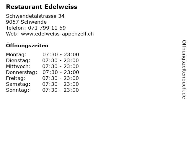 Restaurant Edelweiss in Schwende: Adresse und Öffnungszeiten