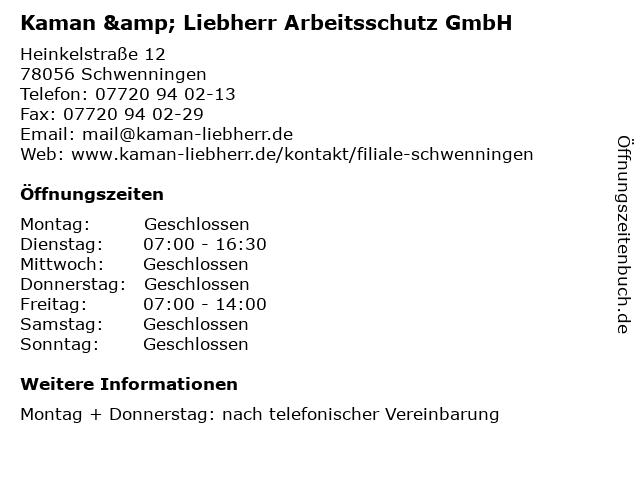 Kaman & Liebherr Arbeitsschutz GmbH in Schwenningen: Adresse und Öffnungszeiten