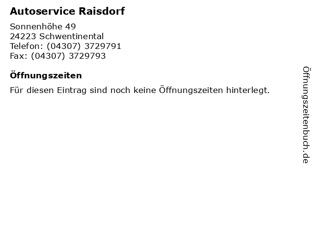 Autoservice Raisdorf in Schwentinental: Adresse und Öffnungszeiten