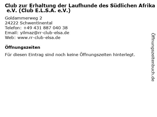 Club zur Erhaltung der Laufhunde des Südlichen Afrika e.V. (Club E.L.S.A. e.V.) in Schwentinental: Adresse und Öffnungszeiten