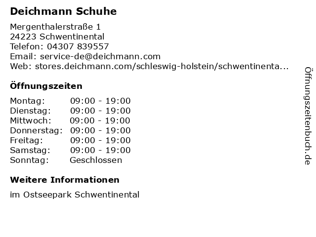 Deichmann Schuhe in Schwentinental: Adresse und Öffnungszeiten