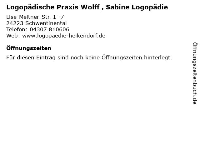 Logopädische Praxis Wolff , Sabine Logopädie in Schwentinental: Adresse und Öffnungszeiten