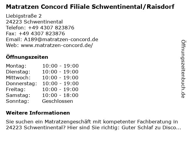 Matratzen Concord GmbH in Schwentinental: Adresse und Öffnungszeiten