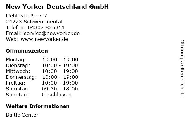 New Yorker Deutschland GmbH in Schwentinental: Adresse und Öffnungszeiten