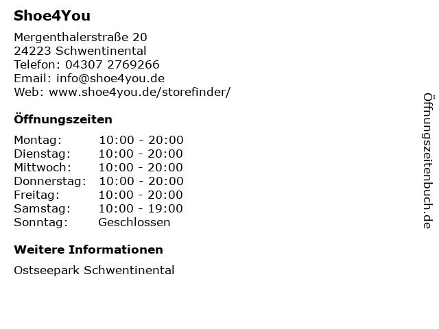 SHOE 4 YOU in Schwentinental: Adresse und Öffnungszeiten