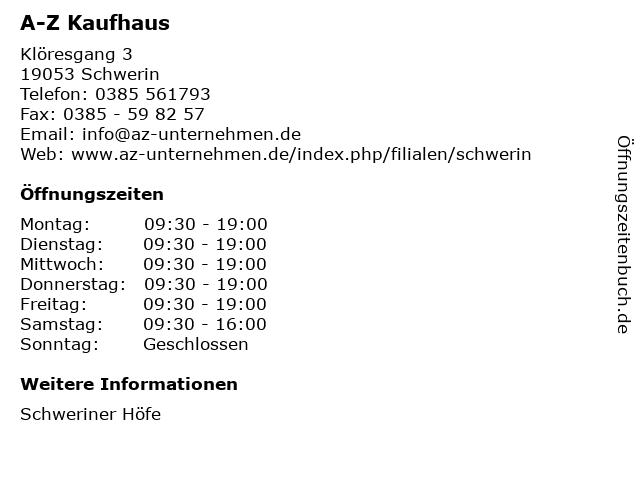 A-Z Kaufhaus in Schwerin: Adresse und Öffnungszeiten