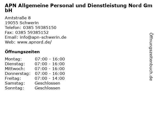 APN Allgemeine Personal und Dienstleistung Nord GmbH in Schwerin: Adresse und Öffnungszeiten