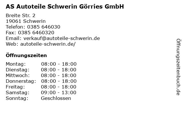 AS Autoteile Schwerin Görries GmbH in Schwerin: Adresse und Öffnungszeiten