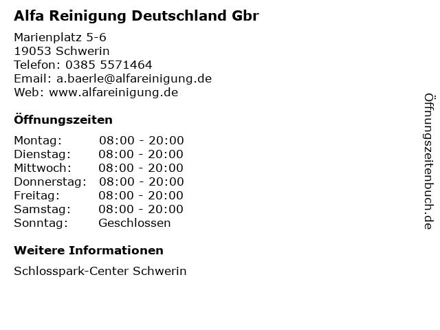 Alfa Reinigung Deutschland Gbr in Schwerin: Adresse und Öffnungszeiten