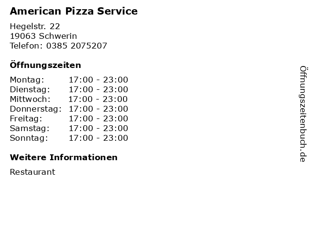 American Pizza Service in Schwerin: Adresse und Öffnungszeiten