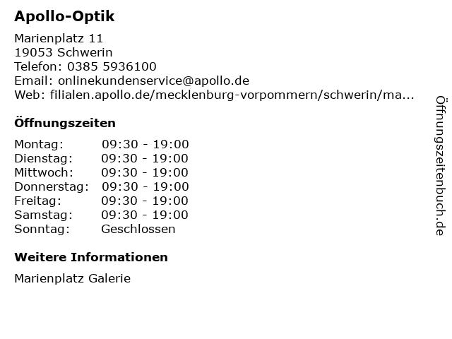 Apollo-Optik in Schwerin: Adresse und Öffnungszeiten