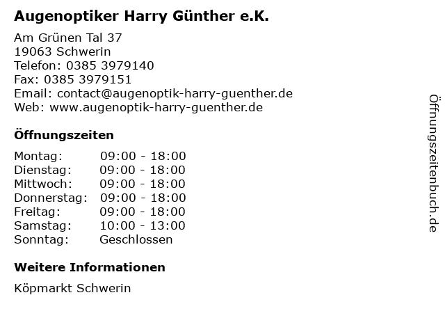 Augenoptiker Harry Günther e.K. in Schwerin: Adresse und Öffnungszeiten