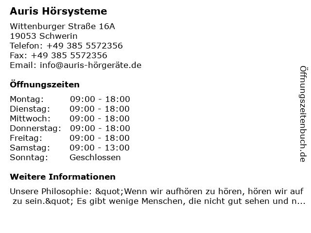 Auris Hörgerätefachgeschäft in Schwerin: Adresse und Öffnungszeiten
