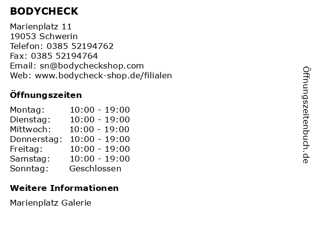BODYCHECK in Schwerin: Adresse und Öffnungszeiten