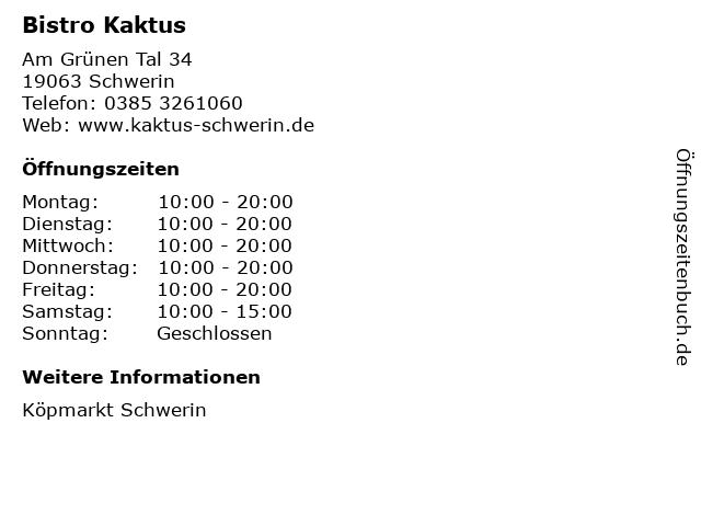 Bistro Kaktus in Schwerin: Adresse und Öffnungszeiten
