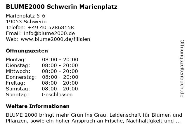 Blume 2000 in Schwerin: Adresse und Öffnungszeiten