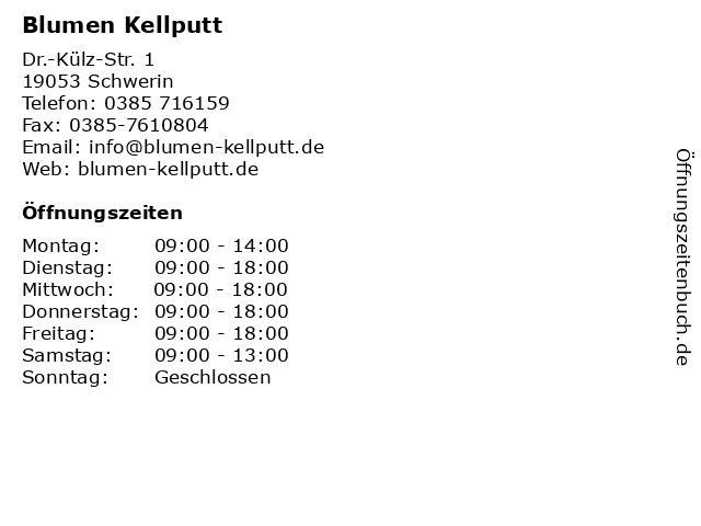 Blumen Kellputt in Schwerin: Adresse und Öffnungszeiten