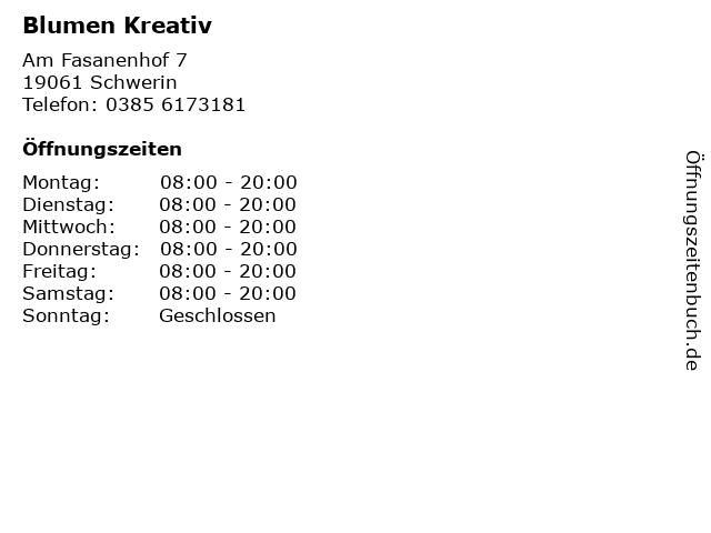 Blumen Kreativ in Schwerin: Adresse und Öffnungszeiten