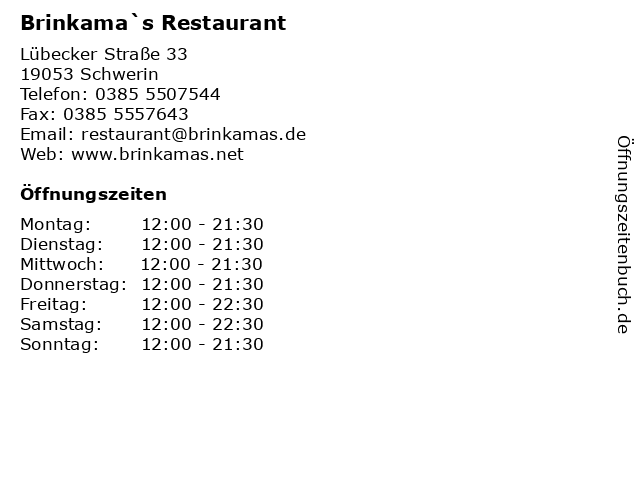 Brinkama`s Restaurant in Schwerin: Adresse und Öffnungszeiten