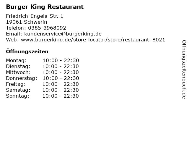 Burger King Restaurant in Schwerin: Adresse und Öffnungszeiten