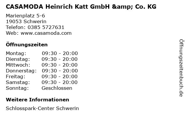 CASAMODA Heinrich Katt GmbH & Co. KG in Schwerin: Adresse und Öffnungszeiten