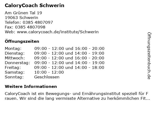 CaloryCoach Schwerin in Schwerin: Adresse und Öffnungszeiten