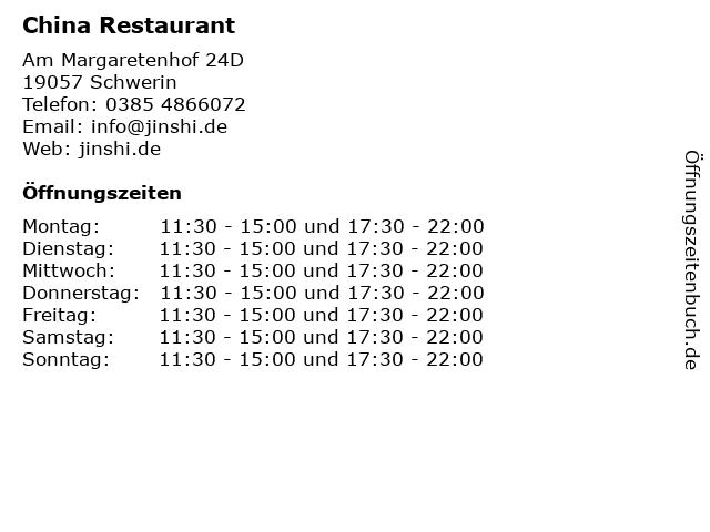 China Restaurant in Schwerin: Adresse und Öffnungszeiten