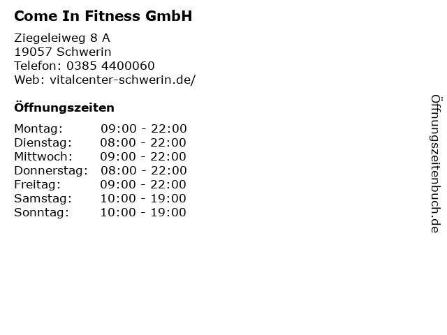 Come In Fitness GmbH in Schwerin: Adresse und Öffnungszeiten