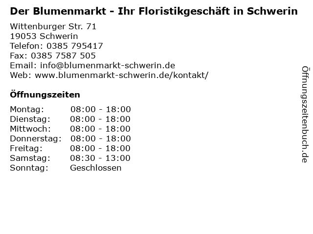 Der Blumenmarkt - Ihr Floristikgeschäft in Schwerin in Schwerin: Adresse und Öffnungszeiten