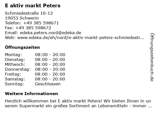 E aktiv markt Peters in Schwerin: Adresse und Öffnungszeiten